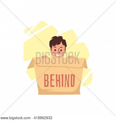 Preposition Place Behind With Boy Who Use Carton Box Demonstrating It Position