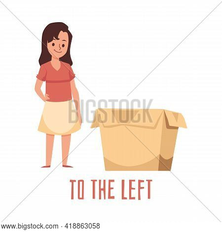 Girl Kid Using Box For Demonstrating Of Position Preposition Place To The Left