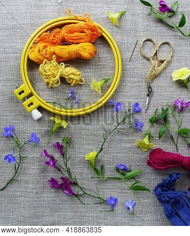 Materials For Hand Embroidery: Scissors, Canvas, Threads And Embroidery Frame