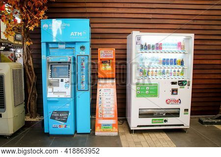 Bangkok Thailand - July 16, 2019 : Atm Machine, Phones & Online Games Refill Machines And Automatic