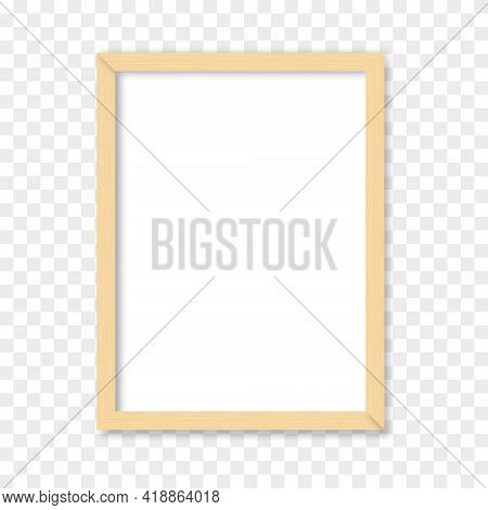 White Blank Picture With Wooden Frame. Realistic Vertical Picture Frame Mockup Template. Vector Illu