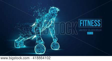 Abstract Silhouette Of A Wireframe Bodybuilder. Man On The Blue Background. Gym. Convenient Organiza