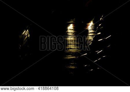 Street Of The Night City With Parked Cars In The Rain. Night City Life.