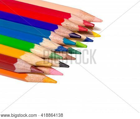 Pencil Color Isolated On White Background. Colorful, Colored Pencil. Close Up Of Vibrant Pencil Colo
