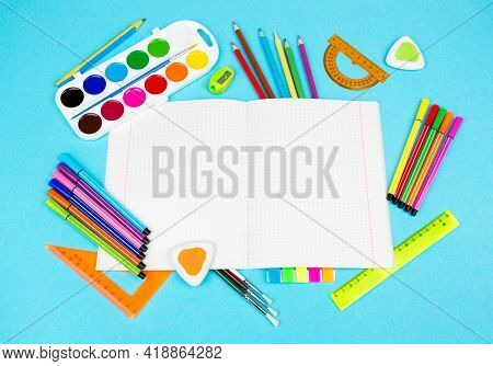 Back To School And Education Supplies. Notebooks And School Supplies.
