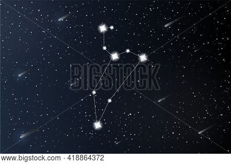 Leo. Zodiac Constellation On Outer Space Background. Mystery And Esoteric. Horoscope Vector Illustra