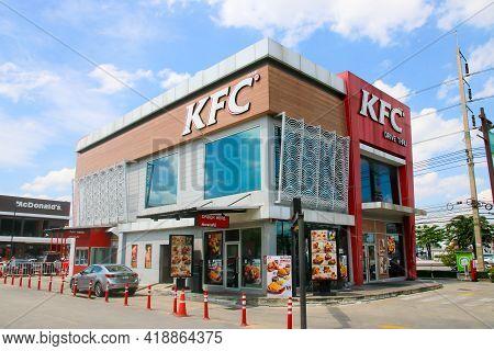 Bangkok Thailand - July 16, 2019 : Kfc Drive Thru Building In The Community Mall Area. Kfc Is A Popu