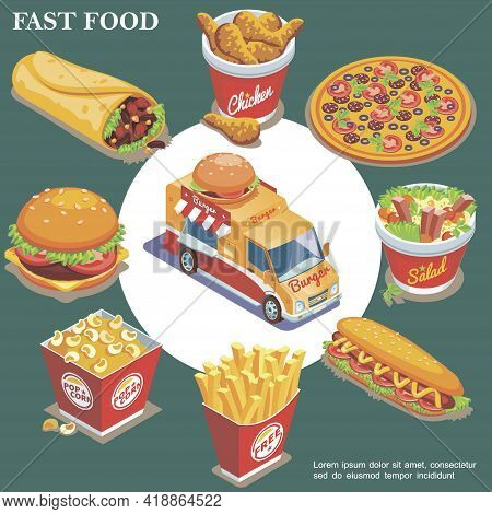 Isometric Fast Food Concept With Street Food Truck Doner Chicken Legs Pizza Salad Hot Dog French Fri