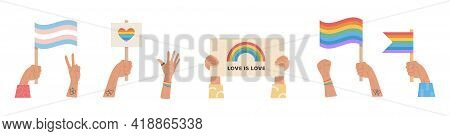 Vector Banner Happy Pride Month. People Holding Flags And Placard With Lgbt Rainbow, Signs And Other