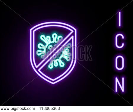 Glowing Neon Line Stop Virus, Bacteria, Germs And Microbe Icon Isolated On Black Background. Antibac