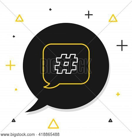 Line Hashtag Speech Bubble Icon Isolated On White Background. Concept Of Number Sign, Social Media M