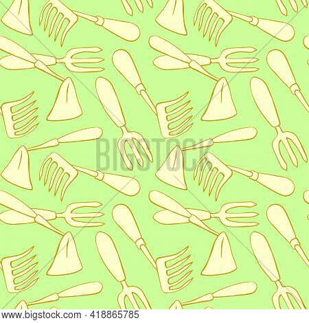 Seamless Pattern With Hoes. Hand Drawn Outline Vector Background And Texture In Doodle Style, Isolat