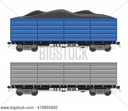 Freight Railroad Car Isolated On White Background. Freight Boxcar Wagon With Coal. Flatcar Part Of C
