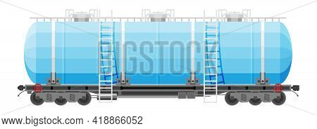 Rail Oil Gasoline Tanker Car. Freight Tank Wagon Isolated On White. Flatcar Part Of Cargo Train. Cis