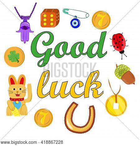 Good Fortune Symbols Set. Collection Of Good Luck Symbols. Colorful Card Template With Inscription G
