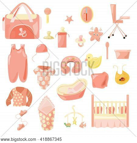 A Set Of Clothes And Accessories For The Baby In Pink Tones. Toys, Bath Tub, Bathing And Eating Acce