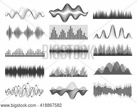 Sound Waves. Graphic Music Soundwave Frequency. Pulse Lines, Radio Equalizer, Voice Record Or Impuls
