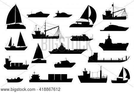 Boats Silhouette. Sailboat, Barge, Fishing And Cruise Ship, Sea Yacht, Passenger And Cargo Vessel Ic