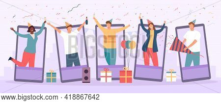 Online Party. Birthday Celebration In Video Chat. Friends Group Gathering To Cheers And Drink. Work