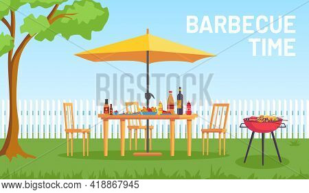 Bbq In Garden. Cartoon Summer Outdoor Backyard Barbecue Party With Furniture, Umbrella, Food On Gril