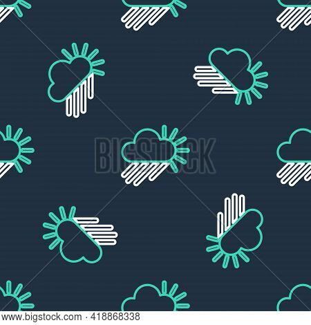 Line Cloudy With Rain And Sun Icon Isolated Seamless Pattern On Black Background. Rain Cloud Precipi