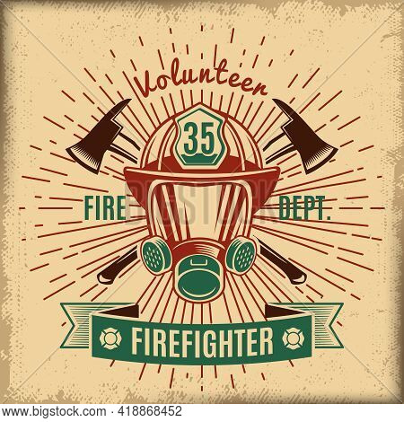 Vintage Firefighting Label With Fireman Rescue Mask Crossed Axes And Ribbon Isolated Vector Illustra