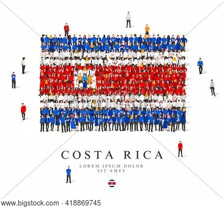 A Large Group Of People Are Standing In Blue, White And Red Robes, Symbolizing The Flag Of Costa Ric