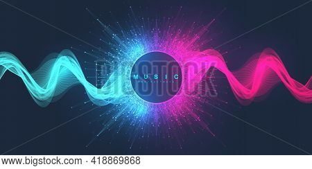 Music Abstract Background. Music Wave Poster Design. Sound Flyer With Abstract Gradient Line Waves,
