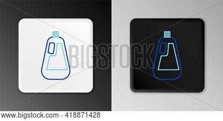 Line Plastic Bottle For Liquid Laundry Detergent, Bleach, Dishwashing Liquid Icon Isolated On Grey B