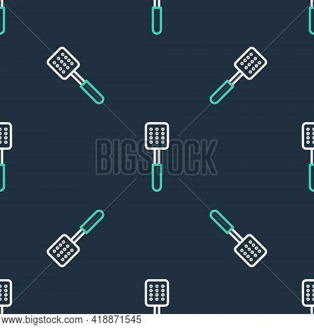 Line Spatula Icon Isolated Seamless Pattern On Black Background. Kitchen Spatula Icon. Bbq Spatula S