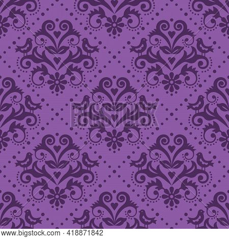 Damask Tiled Pruple Textile Or Fabric Print Vector Pattern With Flowers And Birds In Frame, Classic
