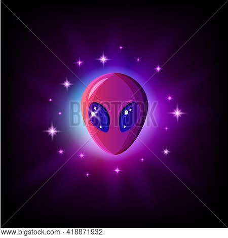 Alien Face With Big Eyes In Outer Space With Stars. Extraterrestrial Humanoid Head Vector Illustrati