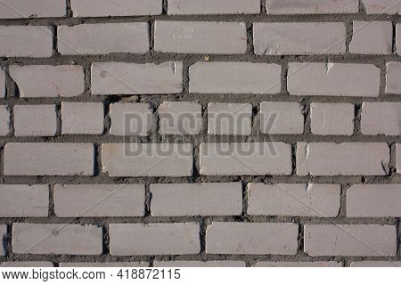 Grey Brick Masonry, Texture, Background, Soft Selective Focus