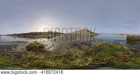360 Vr - Coastal Cliffs And Blue Sky, Wild Rocky Shore Scene