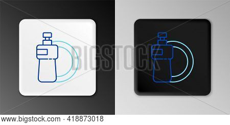 Line Dishwashing Liquid Bottle And Plate Icon Isolated On Grey Background. Liquid Detergent For Wash