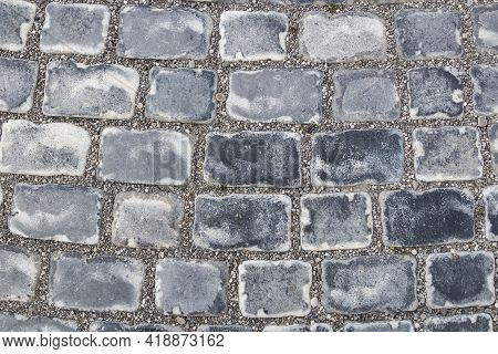 Old Building Stones Laid In Even Rows Forming A Wall. Close-up Background.