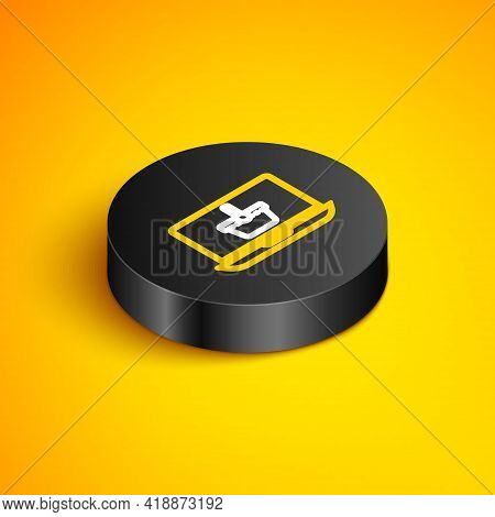 Isometric Line Shopping Basket On Screen Laptop Icon Isolated On Yellow Background. Concept E-commer