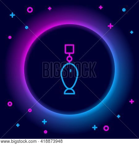 Glowing Neon Line Fishing Spoon Icon Isolated On Black Background. Fishing Baits In Shape Of Fish. F