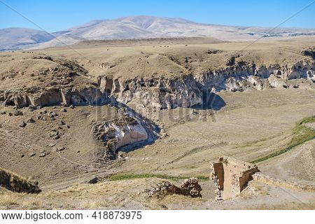 Panoramic View Onto Gorge Surrounding Medieval City Ani, Near Kars, Turkey. There Are Remains Of Art