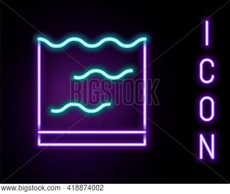 Glowing Neon Line Aquarium Icon Isolated On Black Background. Aquarium For Home And Pets. Colorful O