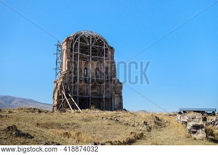 Remains Of Church Of Holy Redeemer In Medieval Ghost Town Ani, Kars, Turkey. It Has Unique Design: 1
