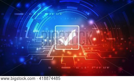 Check Mark Symbol In Digital Background, Technology Abstract Background, Tech Futuristic Check Mark