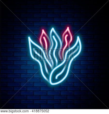 Glowing Neon Line Seaweed Icon Isolated On Brick Wall Background. Underwater Seaweed Spirulina, Aqua