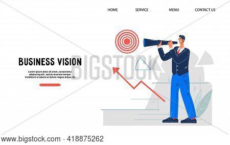 Business Vision And Career Opportunity Website Concept With Businessman, Flat Vector Illustration. P