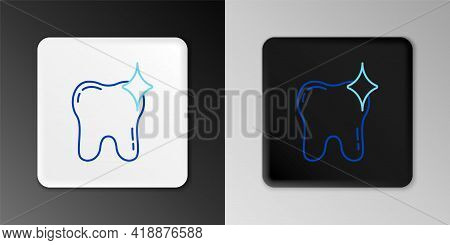 Line Tooth Whitening Concept Icon Isolated On Grey Background. Tooth Symbol For Dentistry Clinic Or