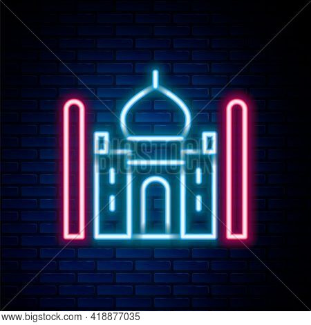 Glowing Neon Line Taj Mahal Mausoleum In Agra, Indiaicon Isolated On Brick Wall Background. Colorful