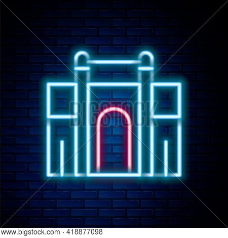 Glowing Neon Line India Gate In New Delhi, India Icon Isolated On Brick Wall Background. Gate Way Of