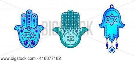 Set Traditional Jewish Hamsa Amulets, The Hand Of Miriam, The Hand Of David-with A Six-pointed Star