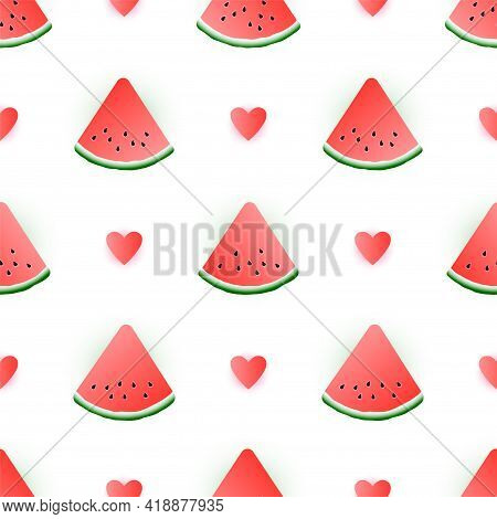 Watermelon Slices Berry Fruit And Hears Summer Vector Seamless Pattern. Simple Girly Print. Cute Sea