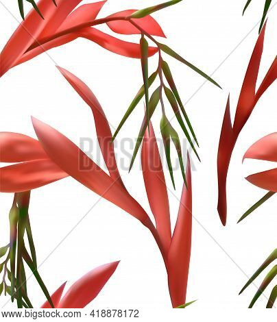 Billbergia Tropical Flower Vector Illustration Seamless Pattern. Exotic Tropic Blossom Textile Ornam